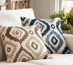 Carly Embroidered Ikat Pillow Cover #potterybarn