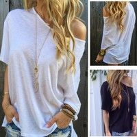 Wish | Women Fashion Solid Off Shoulder T-shirt Casual Short Sleeves Blouse Loose Tee Tops Black White