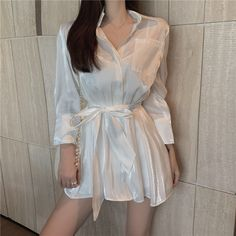 Single-Breasted Long Blouse And High Waist Shorts Two Piece Suit Women Lapel Long Sleeve Loose Sets Button Summer Outfits Korean Summer Outfits, Summer Outfits Women, Kpop Fashion Outfits, Fashion Dresses, Cute Casual Outfits, Casual Dresses, Korean Girl Fashion, Aesthetic Clothes, The Dress