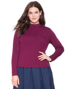 eloquii Long Sleeve Mock Neck Top Vin Rouge #plussizefashion