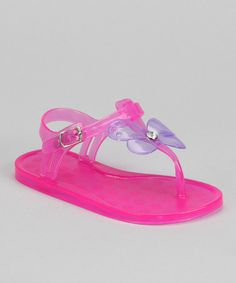 Take a look at this Chatties Fuchsia & Purple Butterfly Jelly T-Strap Sandal by Chatties on #zulily today!