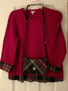 Talbot's Tartan trimmed Sweater matches Dooney and Bourke 2015 Tartan cross-body!