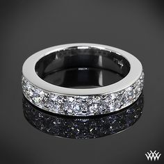 """tiffany style """"Bead-Set"""" Diamond Right Hand Ring is set in platinum and holds 1.00ctw A CUT ABOVE® Hearts and Arrows Diamond Melee."""