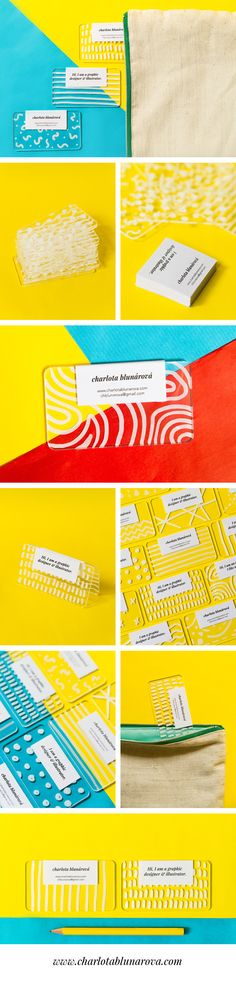 Creative colorful modern plastic business cards by designer Charlota Blunarova. Transparent plexiglass handdrawn with white permanent marker. www.charlotablunarova.com