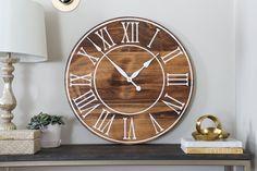 Farmhouse Wall Clocks, Farmhouse Decor, Oversized Clocks, Walnut Wood, Dark Walnut, Clock Painting, Handmade Clocks, Distressed Walls, C Table
