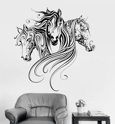 Vinyl Wall Decal Horses Animal Patterns Room Decoration Stickers Mural (ig3379)