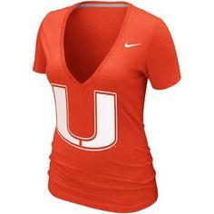 Nike+Miami+Hurricanes+Womens+Deep+V+Burnout+T-Shirt+-+Orange