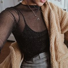 black sheer blouse and brown fluffy jacket. Visit Daily Dress Me at dailydressme . - Healthy Skin Care - black sheer blouse and brown fluffy jacket. Visit Daily Dress Me at dailydressme … – - Crop Top Outfits, Mode Outfits, Night Outfits, Dress Outfits, Pants Outfit, Black Jeans Outfit Night, Vegas Outfits, Evening Outfits, Club Outfits