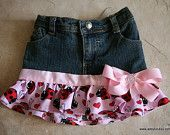 18 months Up-cycled jean skirt with ladybug fabric and pink ribbon