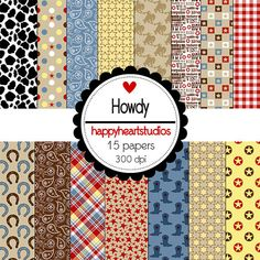 Digital Papers, Cowboy, Woody, Western, CowPrint, Horses, Wild West, Country, Farm