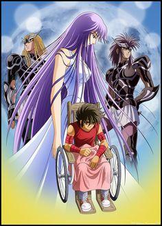 Saint Seiya Athena Saori Kido by on DeviantArt Itachi Mangekyou Sharingan, Golden Warriors, Asgard, Trident, Sailor Moon, Canvas, Saints, Deviantart, Lost