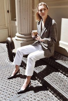 Grey plaid blazer, white raw hem crop jeans, black slingback heels, black cat eye sunglasses. Spring outfits, casual outfits, fashion trends 2018, casual outfits, simple outfits, comfy outfits #fashion2018 #casualstyle #springstyle #streetstyle #ootd #minimaliststyle #fashionblogger #weartowork #blazer
