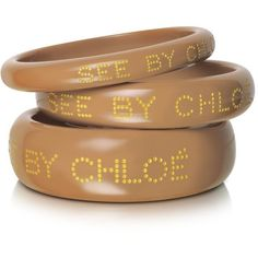 See by Chloé Logo Bangle Bracelets ($70) found on Polyvore