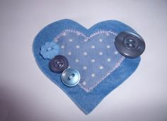Heart shaped felt brooch with buttons by Fabrilushus on Etsy, £3.99