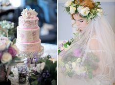 hand painted wedding cake and a bride in a floral crown / Kristen Weaver Photography