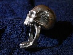 Skull Ring (size 7) by Eeppium on Shapeways, the 3D printing marketplace