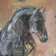 "Horse Painting - Saatchi Art Artist Laurence Poitrin; Collage, ""Cheval Noir / Black Horse"" #art horse painting peinture cheval Horse Art"