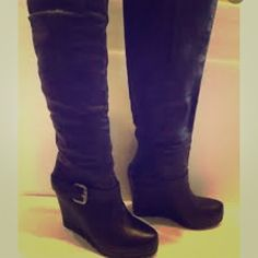Vera wang wedge booties size 8 Black designer wedge boots size 8 in good condition! By Vera wang Vera Wang Shoes