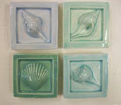 Ceramic SeaShell Tiles -- Set of 4 Made to Order -- 2 x 2 Handmade Accent tiles -- Beach, Ocean, Seashore, Glass Kitchen, Kitchen Art, Kitchen Ideas, Sea Glass Wedding, Border Tiles, Bath Decor, Tile Art, Beach House Decor, Sea Shells