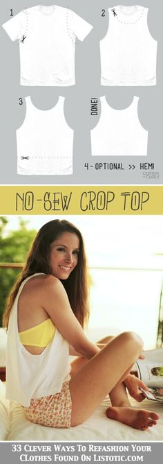 No Sew Crop Top, and 32 Other Clever Ways To Refashion Your Clothes. Great way to refashion old shirts!