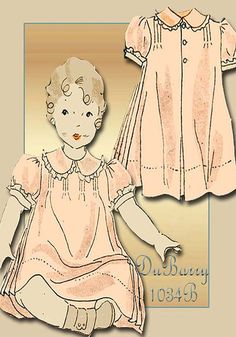 Vintage Sewing Pattern 1930s DuBarry 1034B Girls Heirloom Dress with Pintucks and Lace Trim Size 2 NRA Label