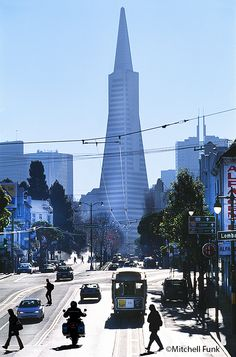 Cable Car On Columbus Avenue With Transamerica Pyramid In The Background, San Francisco   www.mitchellfunk.com