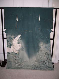 vintage kimono waves and hawk