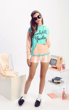 Wildfox Beverly Hills Vacation Cuddles Hoodie - Frendz & Co. Pink Cotton Candy, Green Cotton, Womens Fashion Stores, Wildfox, Handbag Accessories, Beverly Hills, Cuddling, Cute Outfits, Fancy
