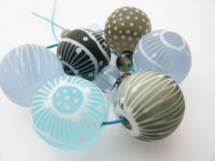 Moogin Beads set of 12 winter colours lampwork by mooginmindy
