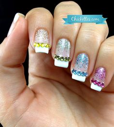 French Manicure with Swarovski Bling! - Chickettes