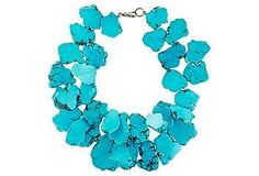 Add an earthy element to your look with this turquoise and turquoise jasper petal necklace.