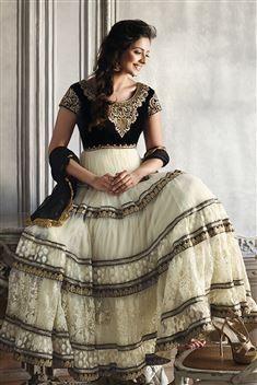 Rakul Preet Net, Chiffon Black, Off White Party wear Anarkali Salwar kameez