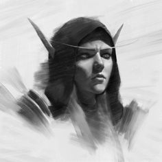 Sylvanas by Yuhong Ding Warcraft Art, World Of Warcraft, Lady Sylvanas, Banshee Queen, Sylvanas Windrunner, Dark Elf, Black And White Portraits, Sci Fi Fantasy, Horror Art