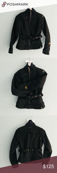 G-Star Raw Denim | Women's Rourke Jacket Pea Coat - 65% Wool, 35% Viscose - Lining: 100% Polyamide - Dry Clean only - Size XS Women's - Rourke Women's Jacket from G-Star Women's - Very thick and warm! - EUC!  - Funnel neck Zip Jacket feature - Hidden inside pocket - Comes with belt G-Star Jackets & Coats