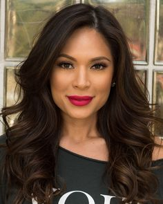 marianna hewitt in mac all fired up retro matte lipstick, lined with mac liner in trust in red
