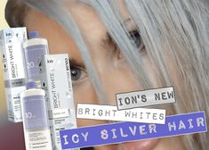 Video step by step tutorial on how to get silver hair or icy silver white hair with ion's new bright whites color/toning collection by combining two of the colors, snow cap, and icy white White Hair Toner, Silver Hair Toner, Silver White Hair, Grey Hair Dye, Silver Blonde Hair, Ash Blonde, Black Hair, Ion Hair Colors, Hair Colour