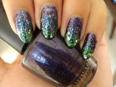 Iridescent Glitter Fade  OPI's OPI Ink as a base color, then (from base to nail tip) China Glaze's Skyscraper, OPI's Last Friday Night, OPI's Fresh Frog Of Bel Air
