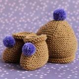 Chaussons et bonnet pour bébé en laine mérinos kaki doré