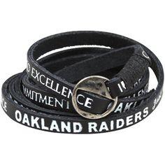 Oakland Raiders Ladies Leather Wrap Bracelet - Black