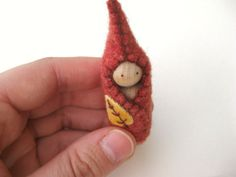 Little Autumn Leaf Gnome - Hand Embroidered Wool and Wood - Waldorf Inspired. $7.00, via Etsy.