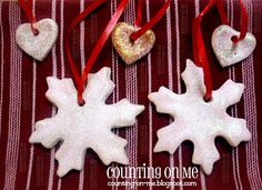 Counting On Me: Homemade Christmas Ornaments Homemade Christmas Decorations, Homemade Ornaments, How To Make Ornaments, Homemade Gifts, Clay Ornaments, Christmas Projects, Holiday Fun, Christmas Crafts, Christmas Ornaments