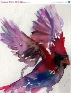 On Sale Print of Original Watercolor Painting, Titled: Cardinal Taking Flight by Jessica Buhman Red Purple Pink Black Orange. $16.00, via Etsy.