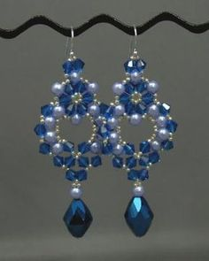 princess Earrings--Princess Earrings                                  ~Robin Smith   Materials Needed: 46 Swarovski Crystals 26 4mm Pearls Size 15/0 Seed Beads Bead for dangle: - Teardrops - Extra pearl or - Swarovski Crystal Size 12 Beading Needles 4# or 6# Fireline Earwires