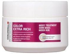Goldwell Dualsenses Color Extra Rich 60sec Treatment. Leaves hair looking amazingly healthy and shiny just after one application. Essential to everyone who dyes and styles hair on a regular basis!