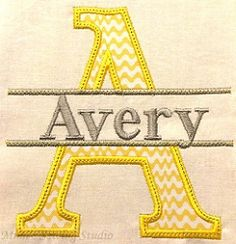 Split Font 1 Applique - 5x7 | What's New | Machine Embroidery Designs | SWAKembroidery.com Mimi's Sewing Studio