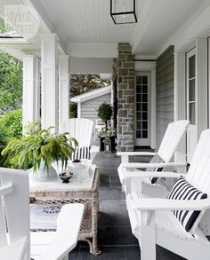 """House tour: Seaside chic style - Style At Home """"We sit on the front porch as… Outdoor Rooms, Outdoor Chairs, Outdoor Living, Outdoor Decor, White Adirondack Chairs, White Chairs, Front Porch Furniture, Furniture Chairs, Room Chairs"""