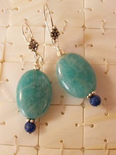 Amazonite and Lapis Lazuli Earrings on Bali Sterling Silver, Semi Precious Gemstone Jewelry, Handcrafted