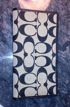 Coach Checkbook Cover Navy Blue/Black Gray Signature Jacquard Textured Wallet 2 #Coach #CheckbookCover