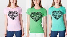 Vegan womans shirt Vegan heart vegan clothing by EarthlingWear