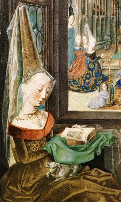 illustration in Mary's Book of Hours depicting Mary of Burgundy with her conical hennin reading her Book of Hours. Medieval Life, Medieval Fashion, Medieval Art, Renaissance Paintings, Renaissance Art, Medieval Paintings, Medieval Manuscript, Illuminated Manuscript, Medieval Tapestry